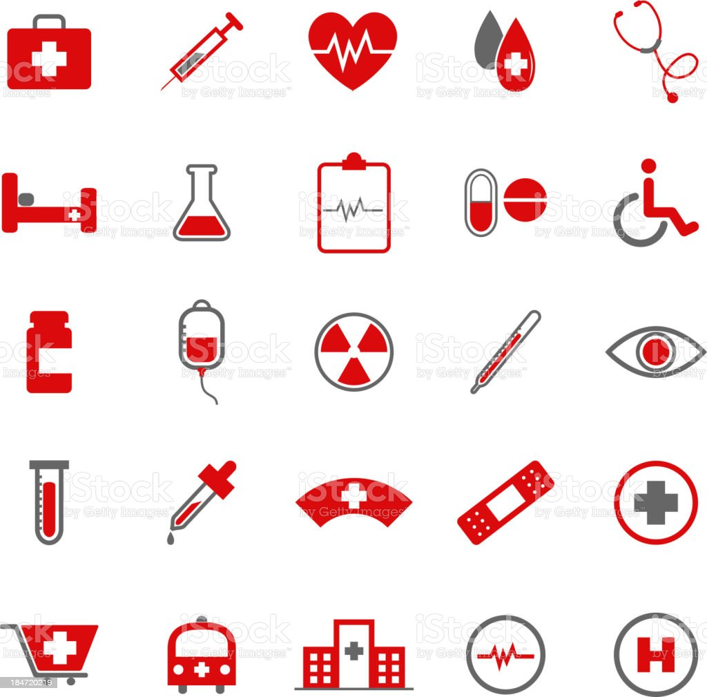 Medical color icons on white background royalty-free stock vector art