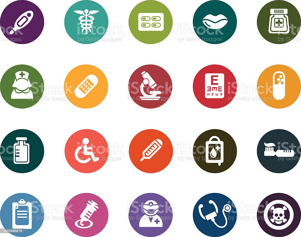 Medical Color Icons vector art illustration