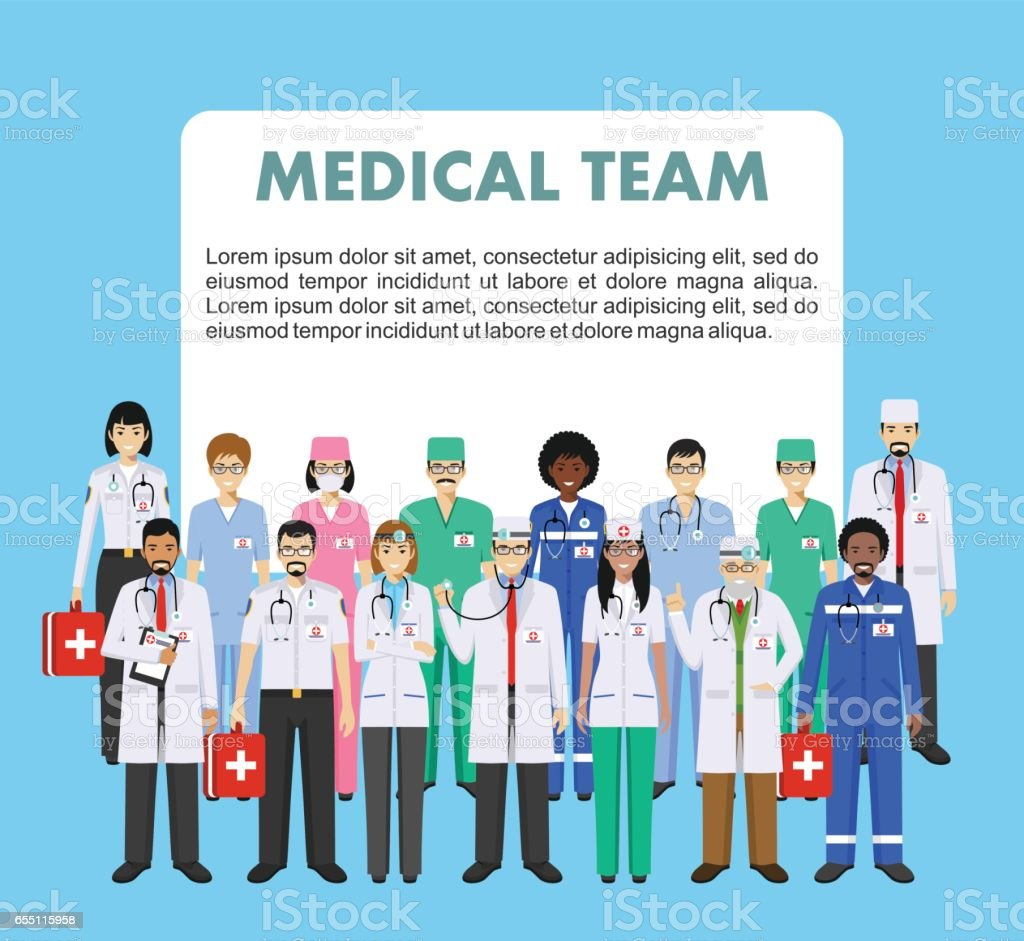 Medical concept. Detailed illustration of doctor and nurses in flat style isolated on blue background. Practitioner doctors man and woman standing in different positions. Vector illustration vector art illustration