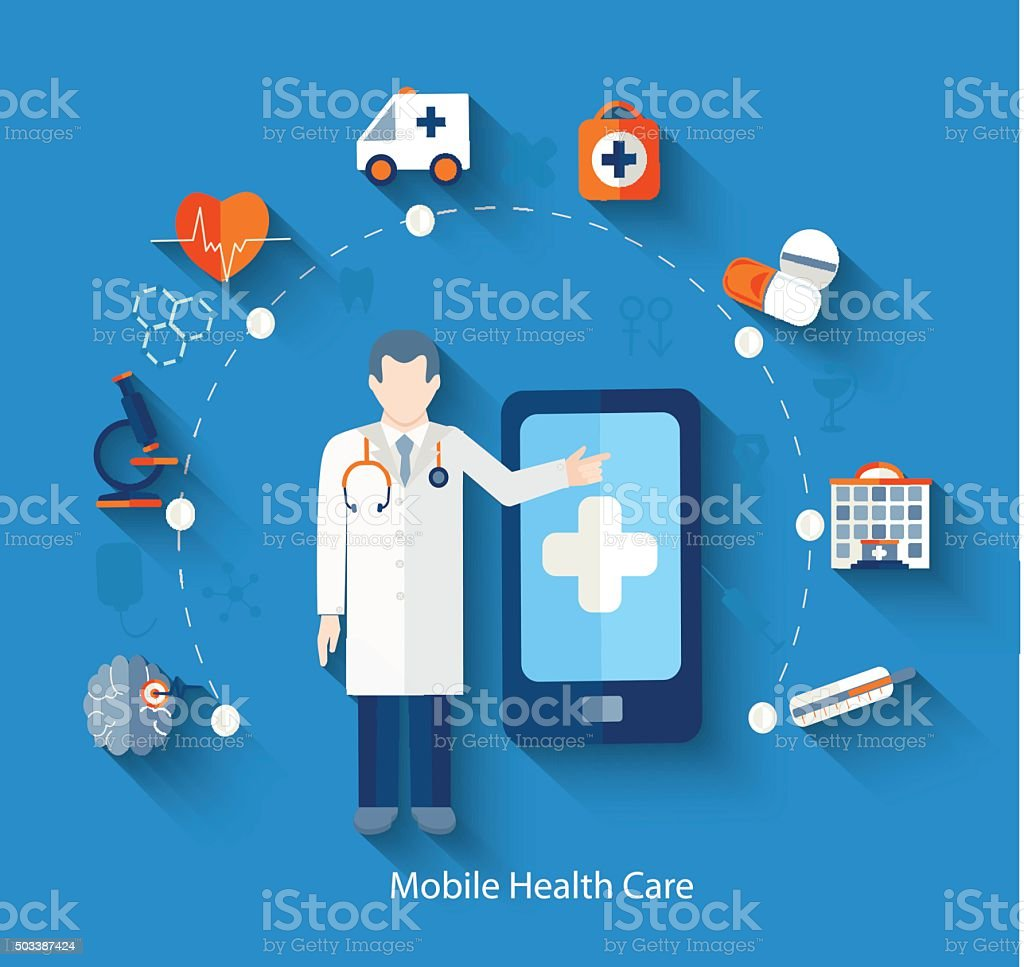 Medical concept icons for web and mobile phone. vector art illustration