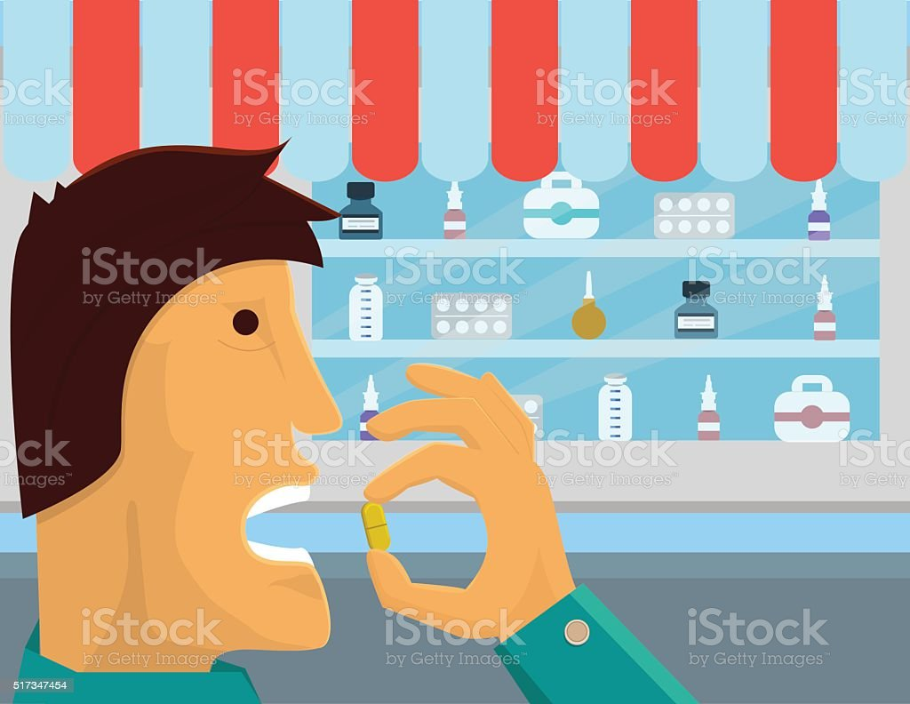 Medical consumption. Man is taking medicine with pharmacy behind him vector art illustration