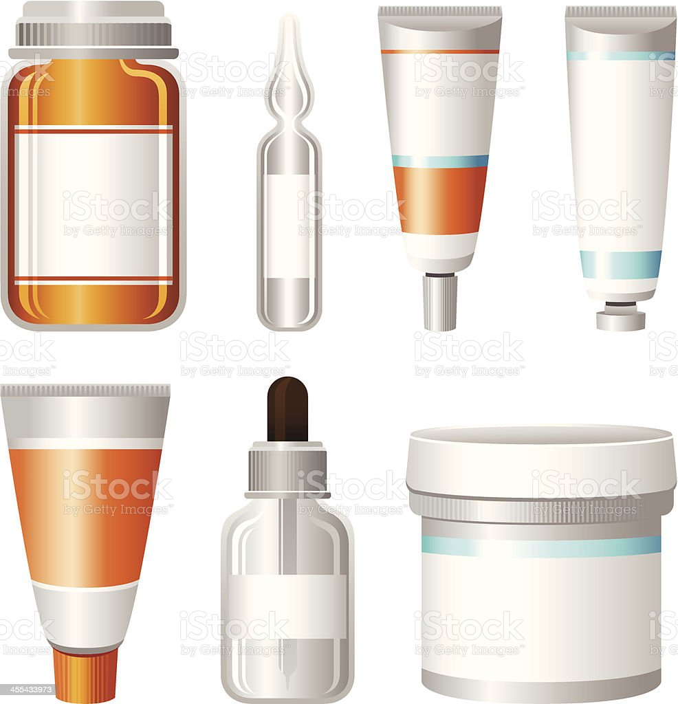 Medical Container Set vector art illustration
