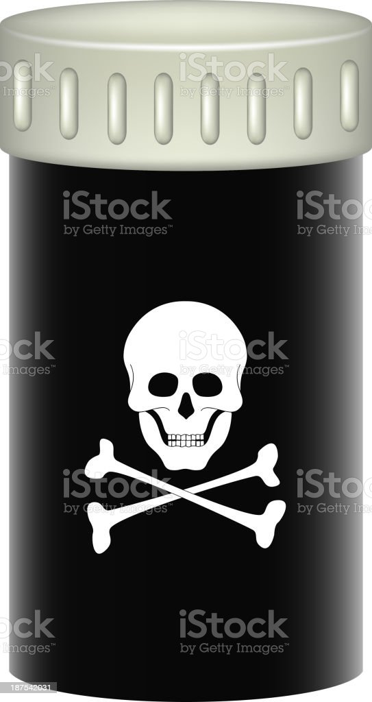 Medical container with danger sign (skull symbol) royalty-free stock vector art