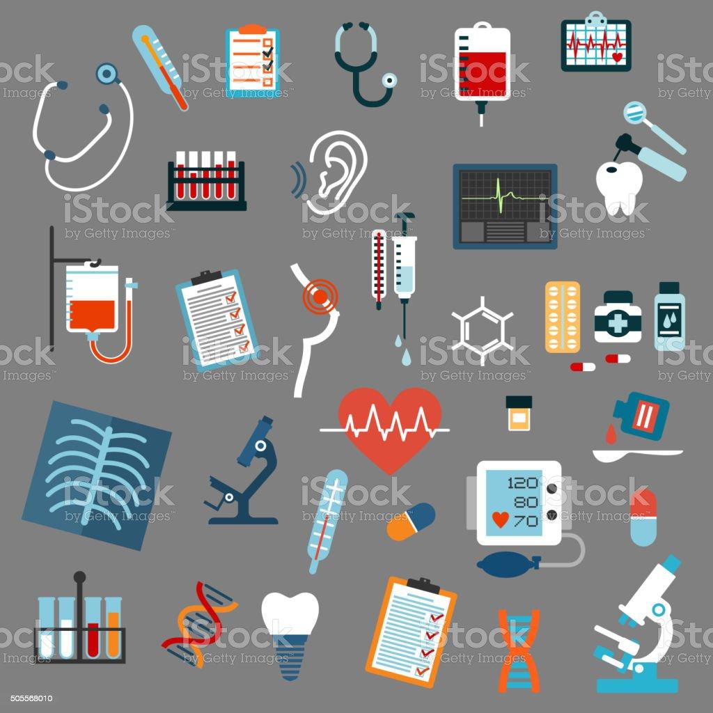 Medical diagnostics, testing and equipment vector art illustration