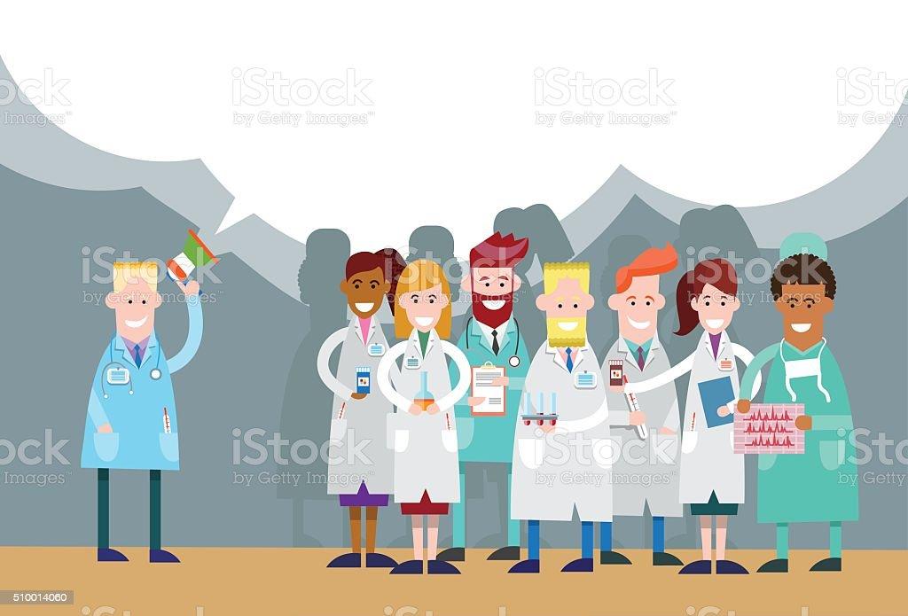 Medical Doctor Hold Megaphone Loudspeaker Group Team White Chat Bubble vector art illustration
