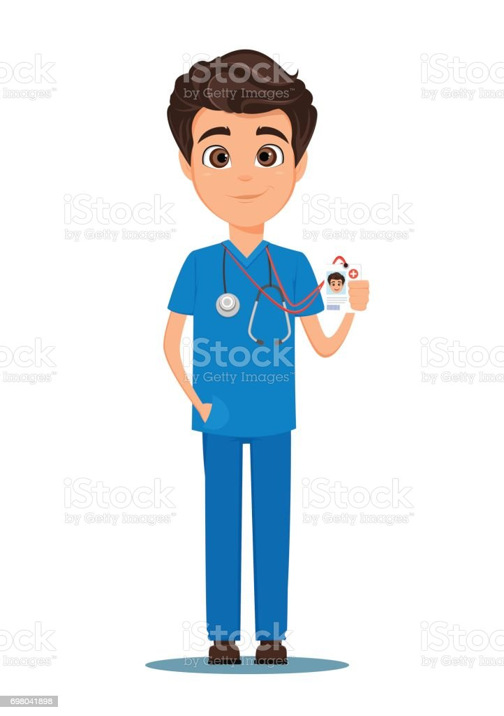 Medical doctor in blue uniform holding his badge. Vector illustration. EPS10 vector art illustration
