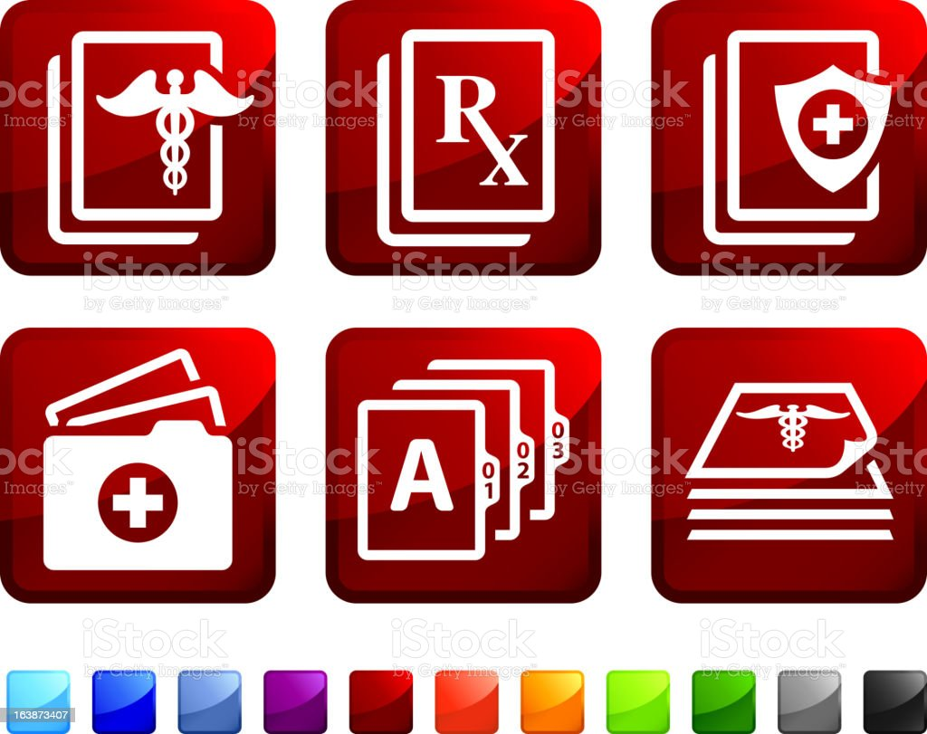 Medical Documents and Records sticker set vector art illustration