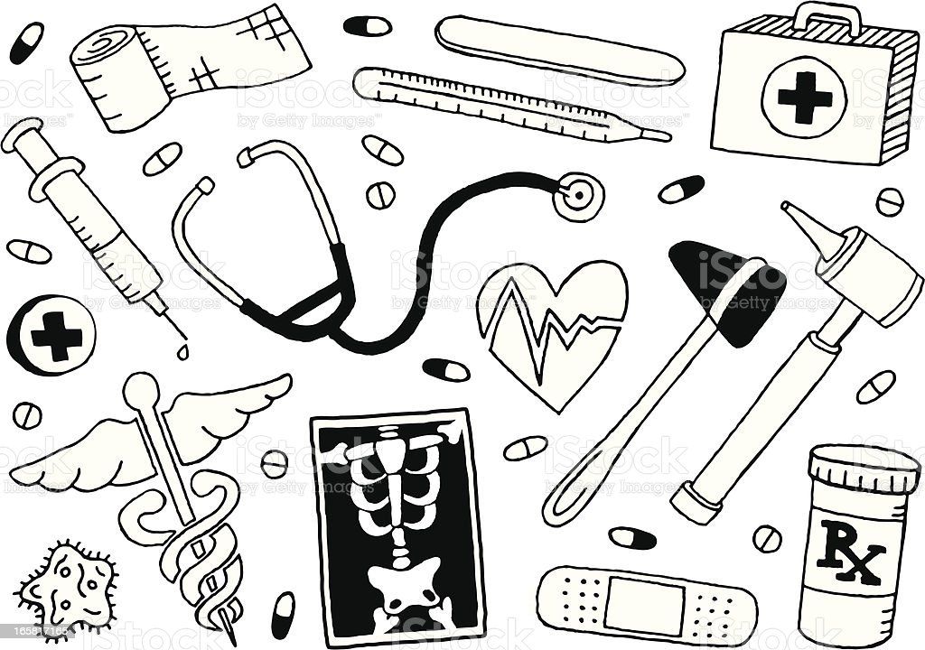 Medical Doodles vector art illustration