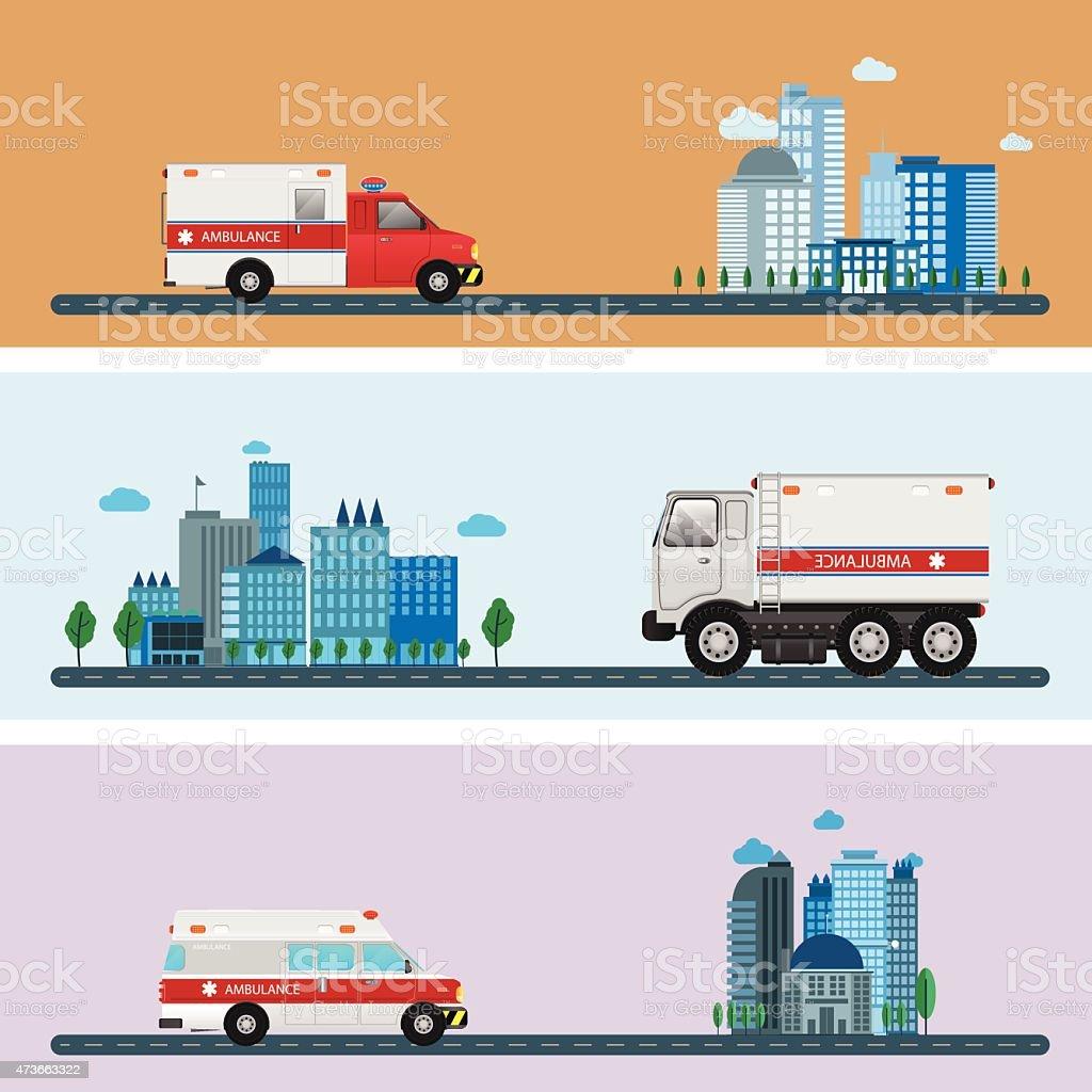 Medical emergency ambulance car vector art illustration