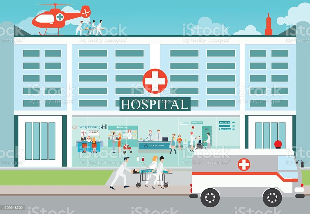 Medical emergency chopper helicopter and  Ambulance car. vector art illustration