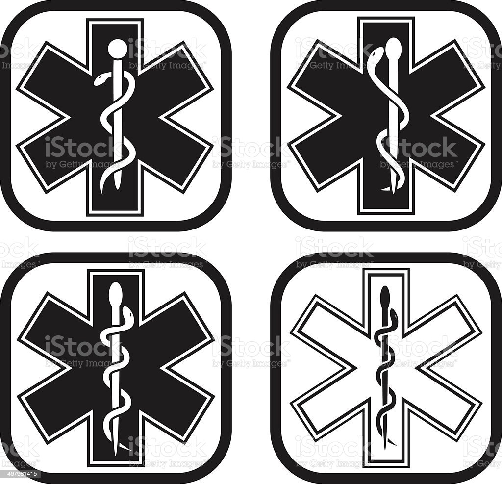 Medical emergency symbol - four variations vector art illustration