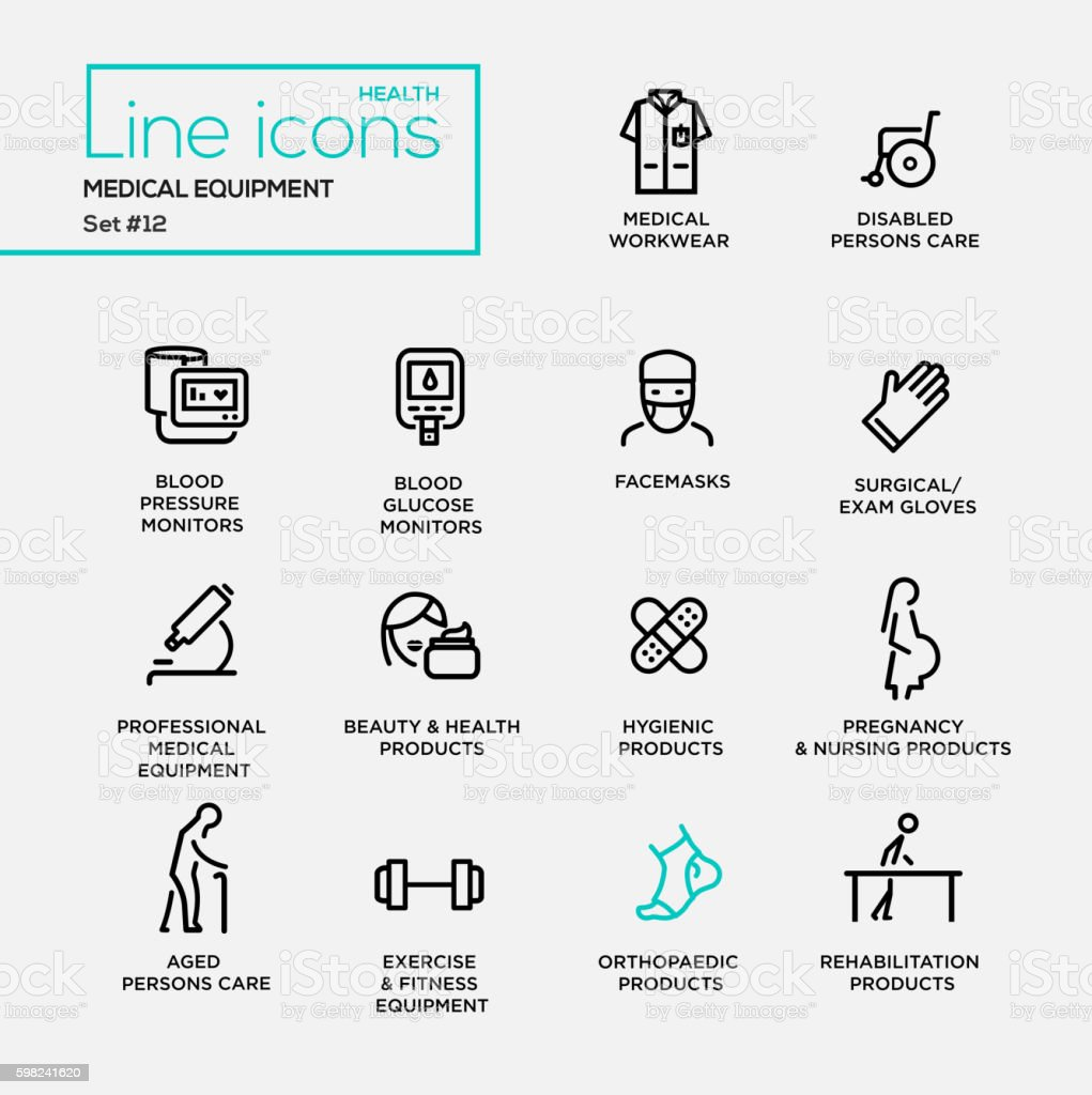 Medical Equipment - line design pictograms set vector art illustration