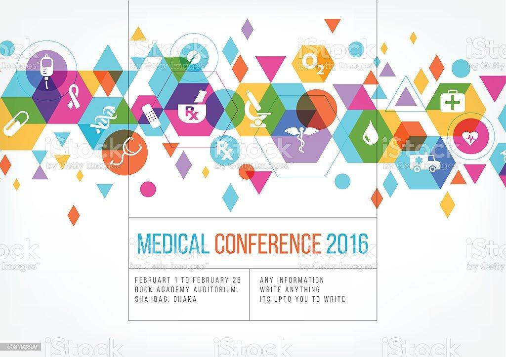 Medical event poster design vector art illustration