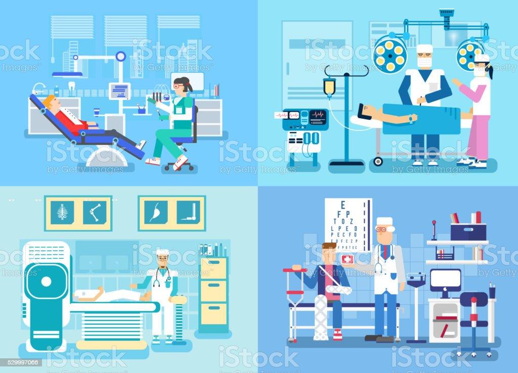 Medical examination doctor set concept. Medical visit to the doctor vector art illustration