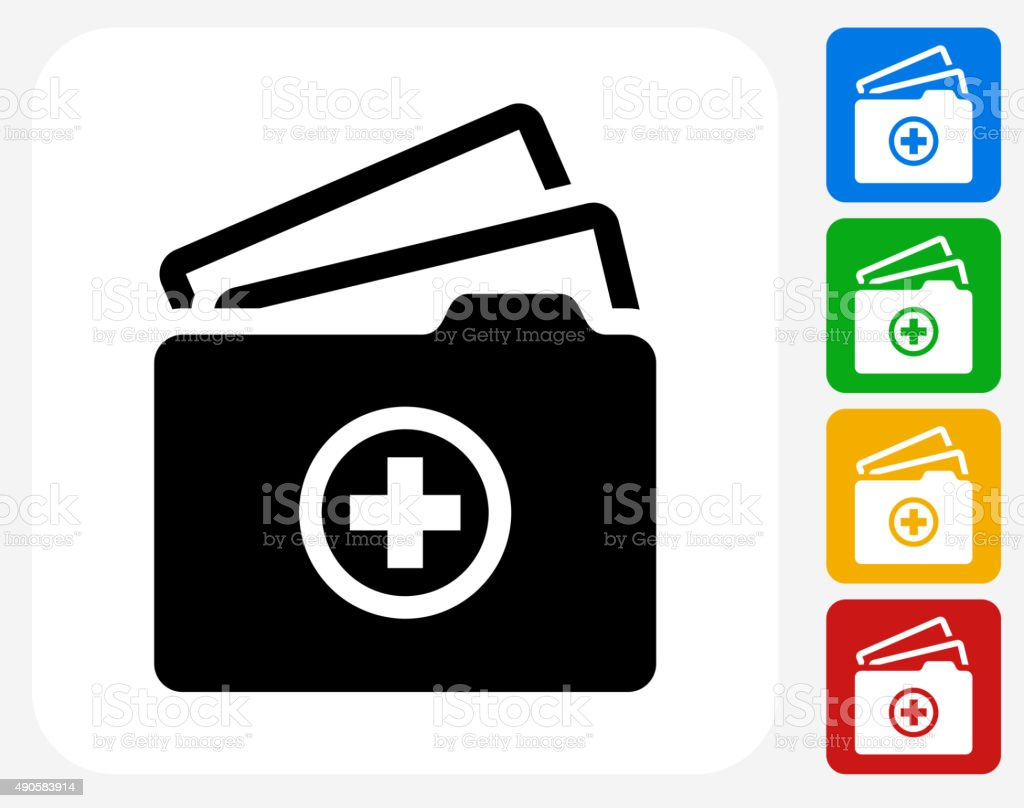 Medical Files Icon Flat Graphic Design vector art illustration