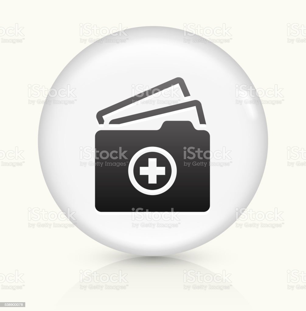 Medical Files icon on white round vector button vector art illustration