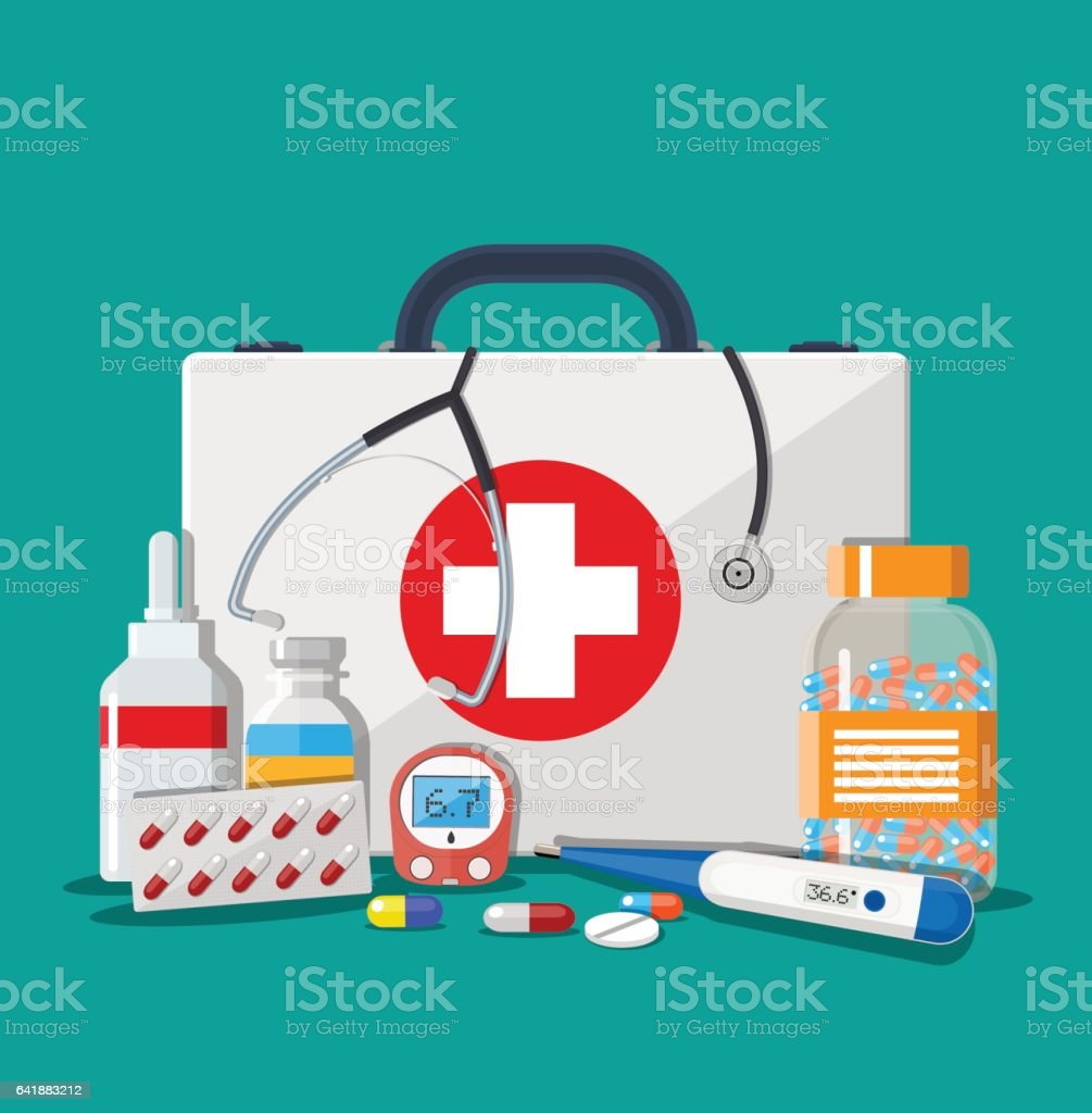Medical first aid kit with pills and devices vector art illustration