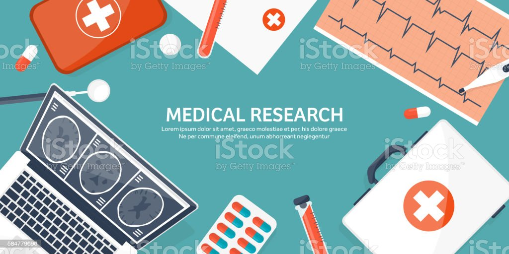 Medical flat background. Health care,first aid,research, cardiology. Medicine vector art illustration