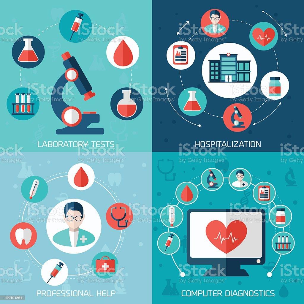 Medical flat banners set vector art illustration