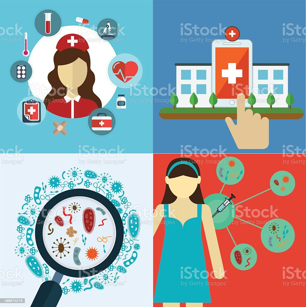 Medical flat banners set with Health care and vaccine research vector art illustration