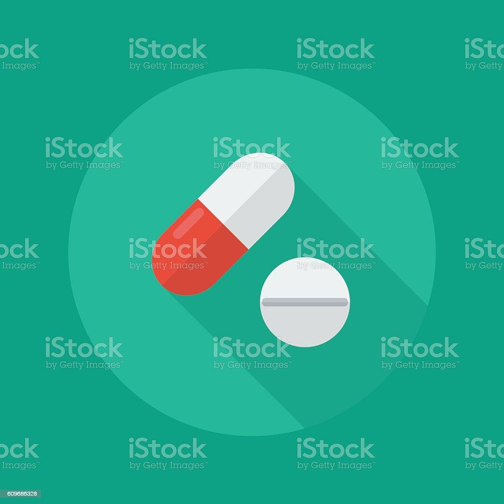 Medical Flat Icon. Medical pills vector art illustration
