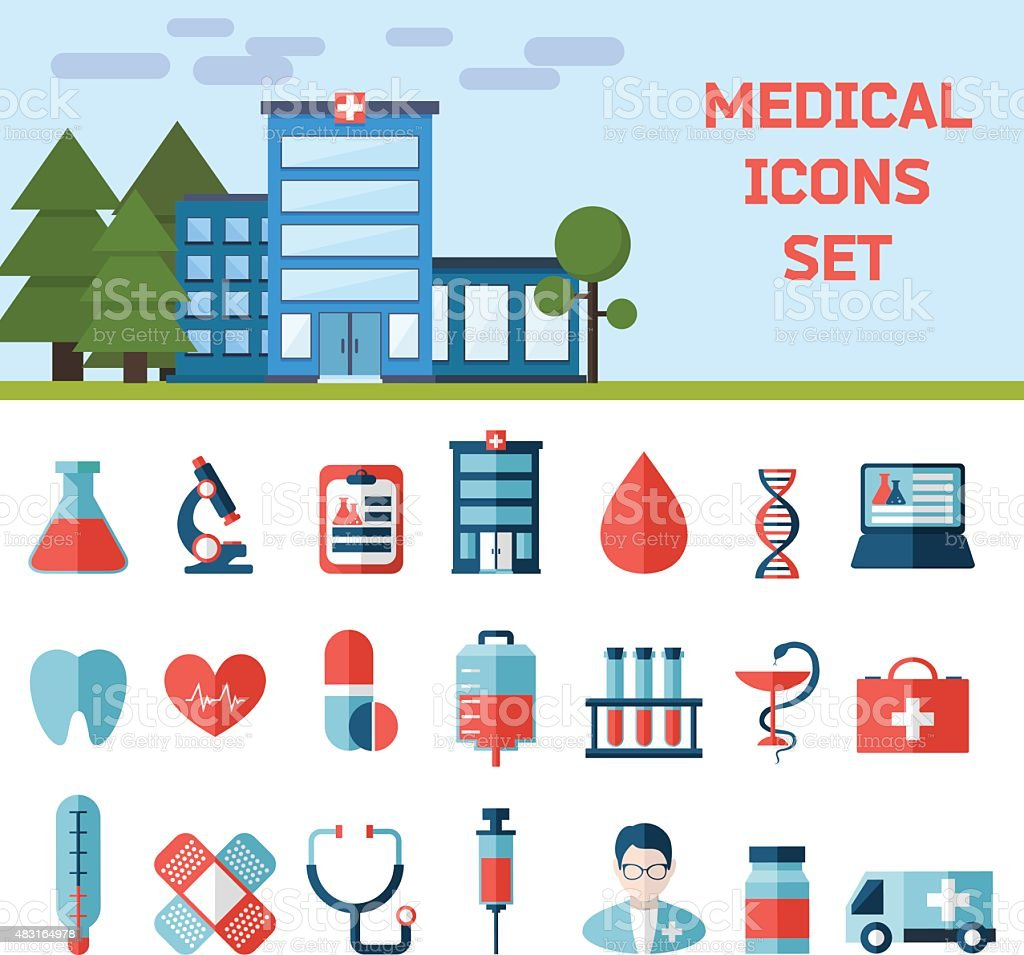 Medical Flat Infographic Background vector art illustration
