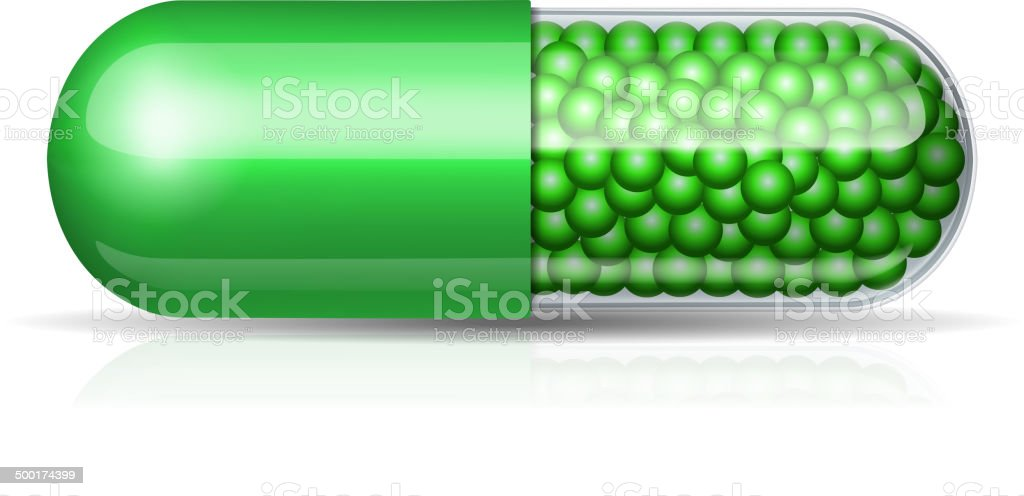 Medical green capsule with granules royalty-free stock vector art