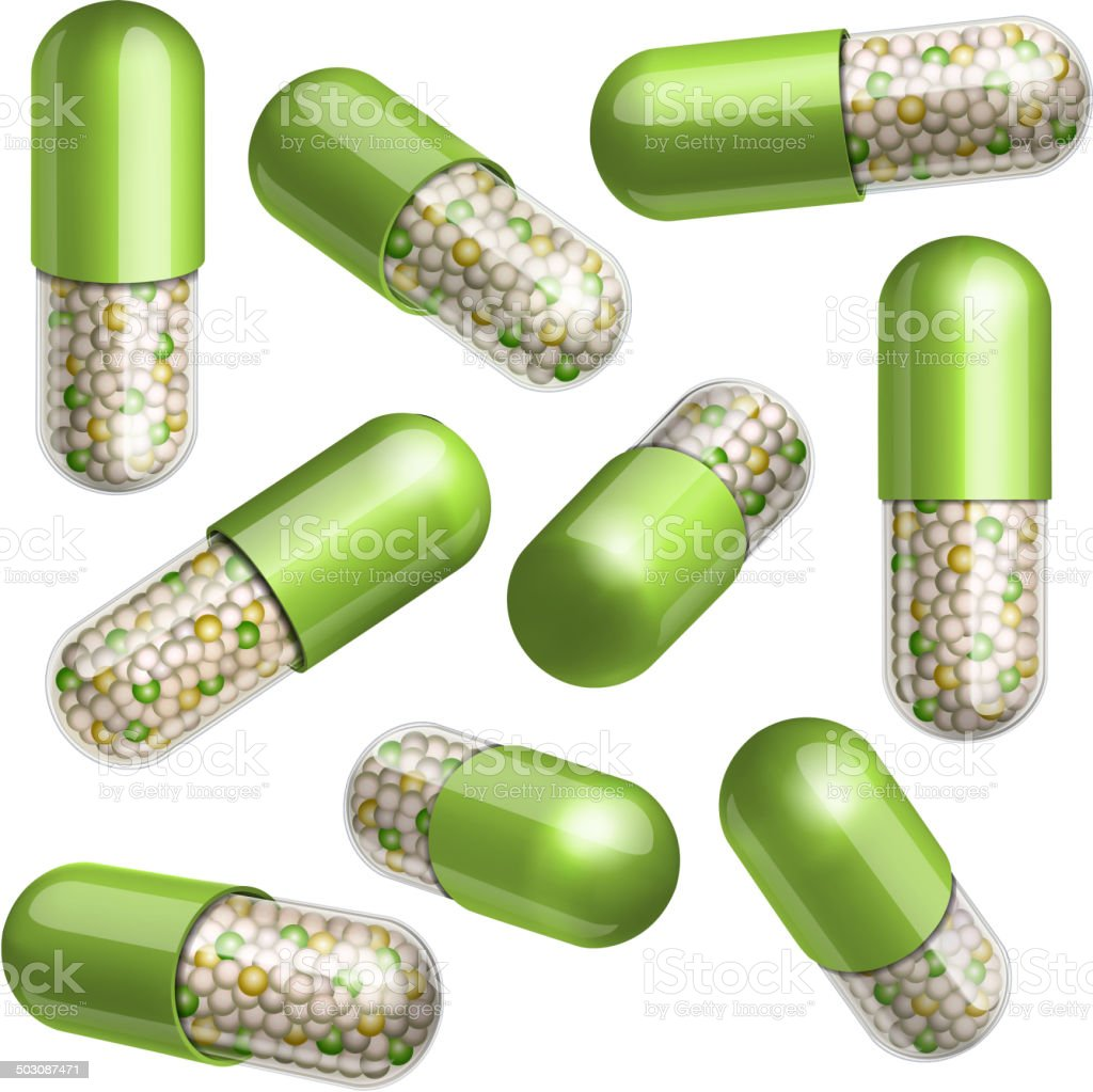 Medical green capsule with granules vector art illustration