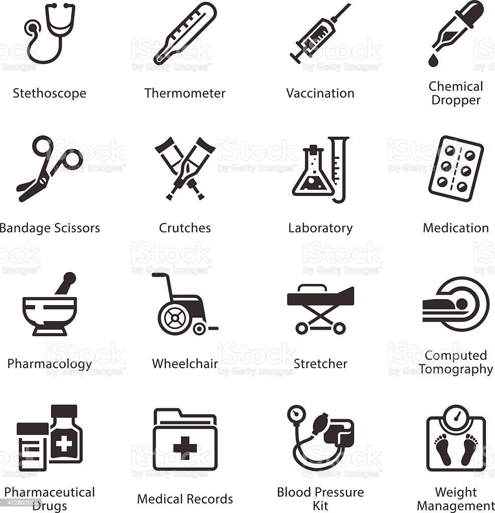 Medical & Health Care Icons Set 1 - Equipment & Supplies vector art illustration