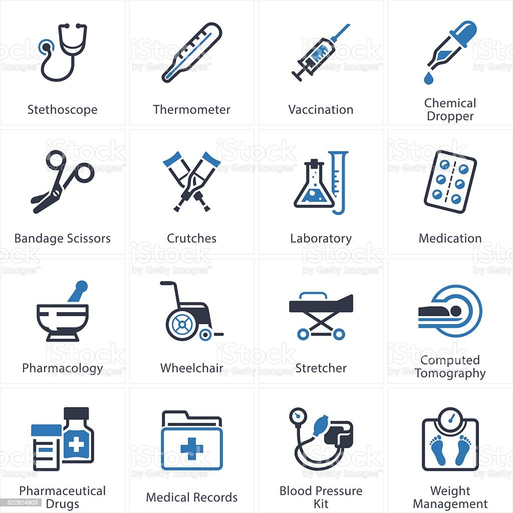 Medical & Health Care Icons Set 1 - Equipment & Supplies vector art illustration