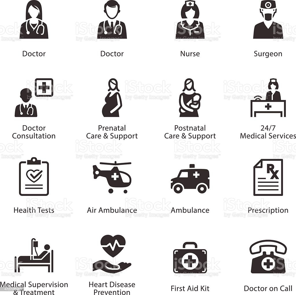 Medical & Health Care Icons Set 1 - Services vector art illustration