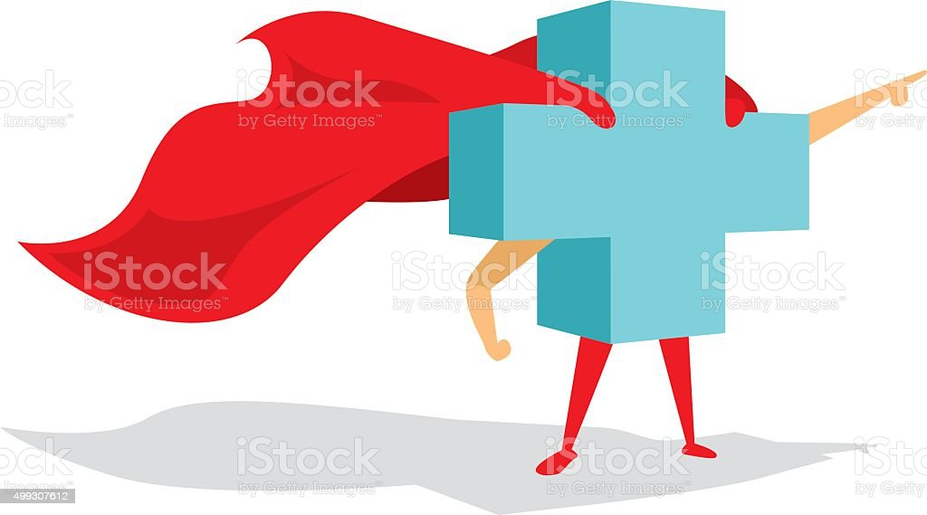 Medical health cross super hero with cape bravely pointing forwa vector art illustration