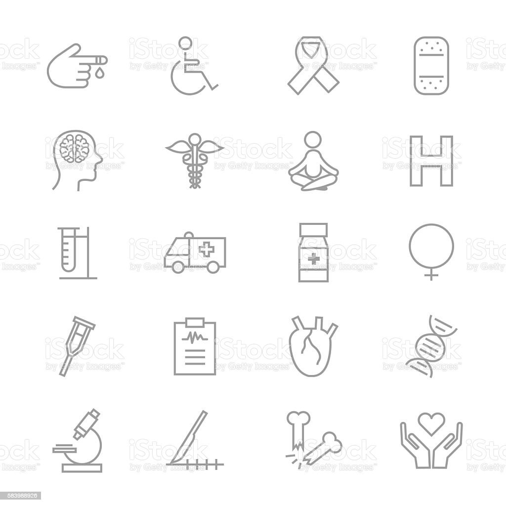 Medical Health Fitness and Science Set Of Healthy Icons Line vector art illustration