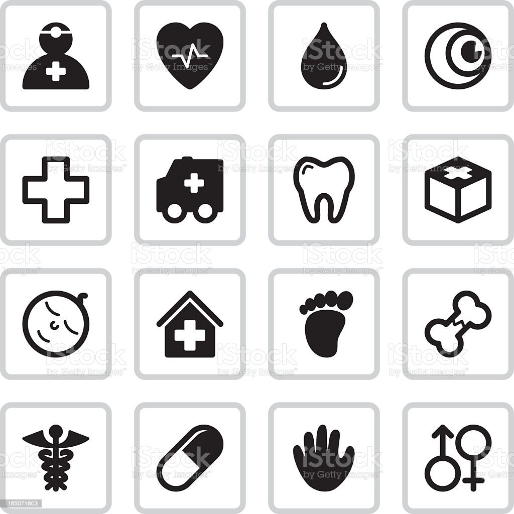 Medical Health Icons | Black vector art illustration
