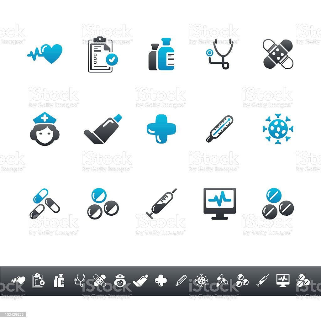 Medical & Health Icons   Blue Grey stock photo