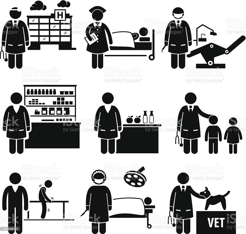 Medical Healthcare Hospital Jobs Occupations Careers vector art illustration
