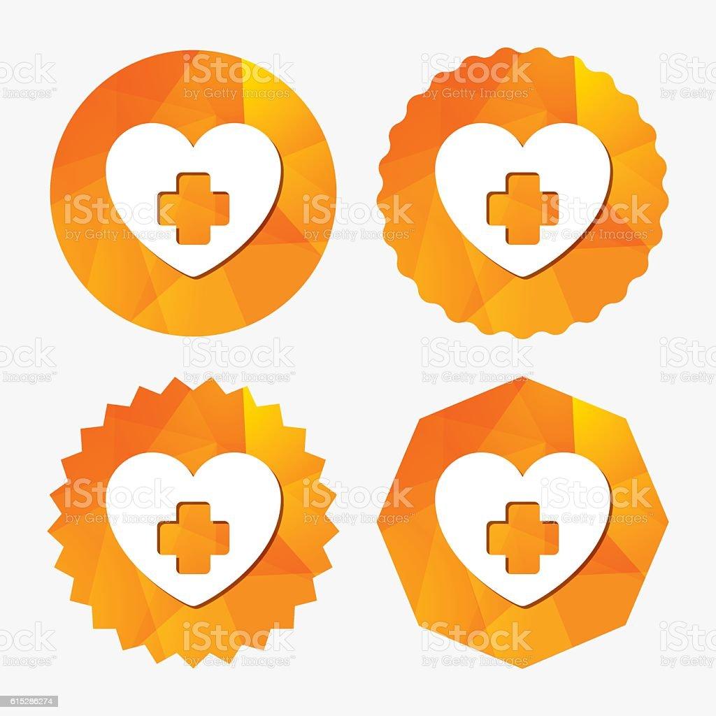Medical heart sign icon. Cross symbol. vector art illustration