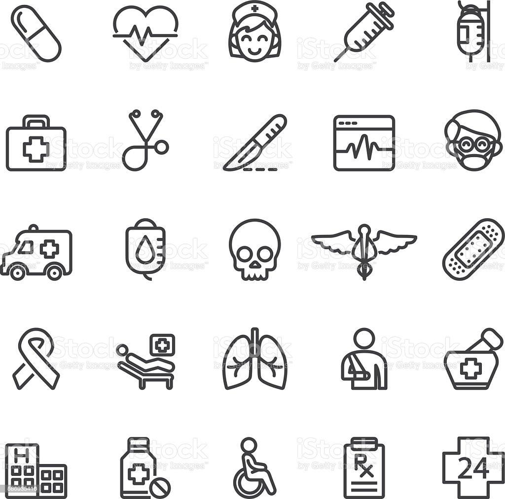 Medical Hospital Care Clinic Emergency Line icons | EPS10 vector art illustration
