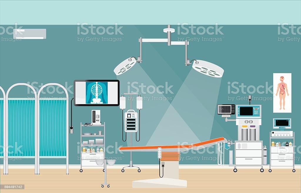Medical hospital surgery operation room interior. vector art illustration