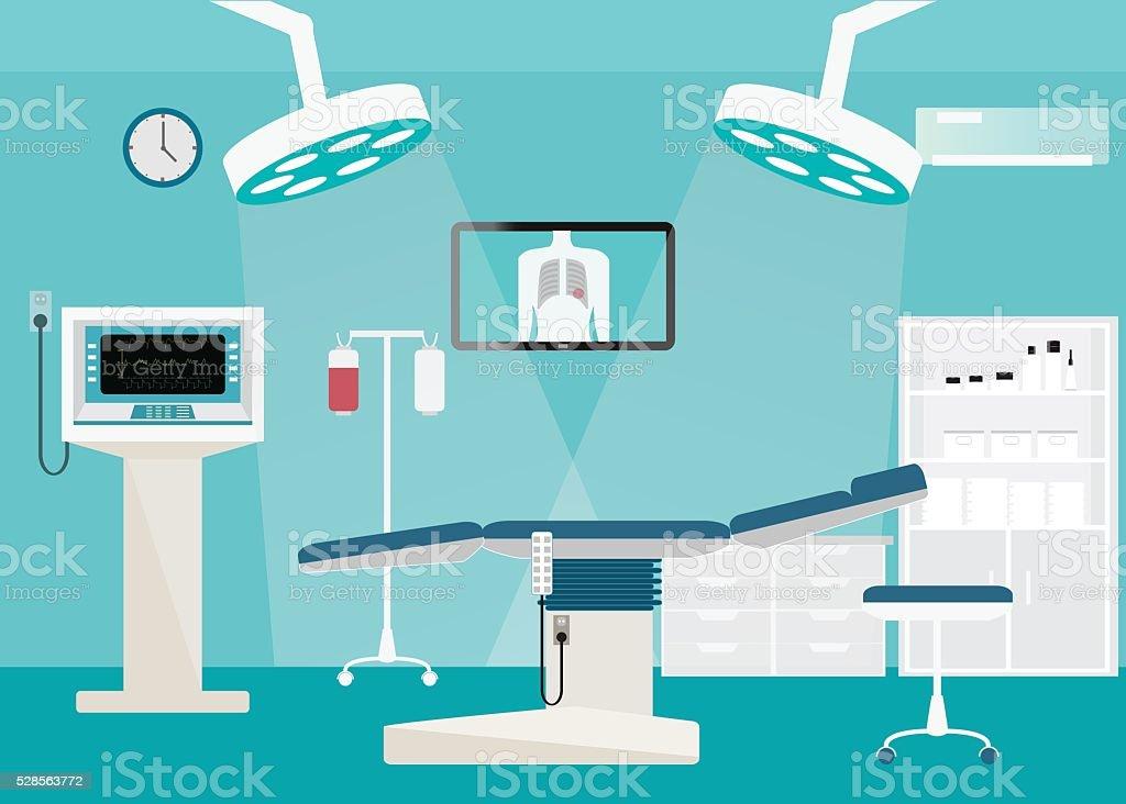 Medical hospital surgery operation room. vector art illustration