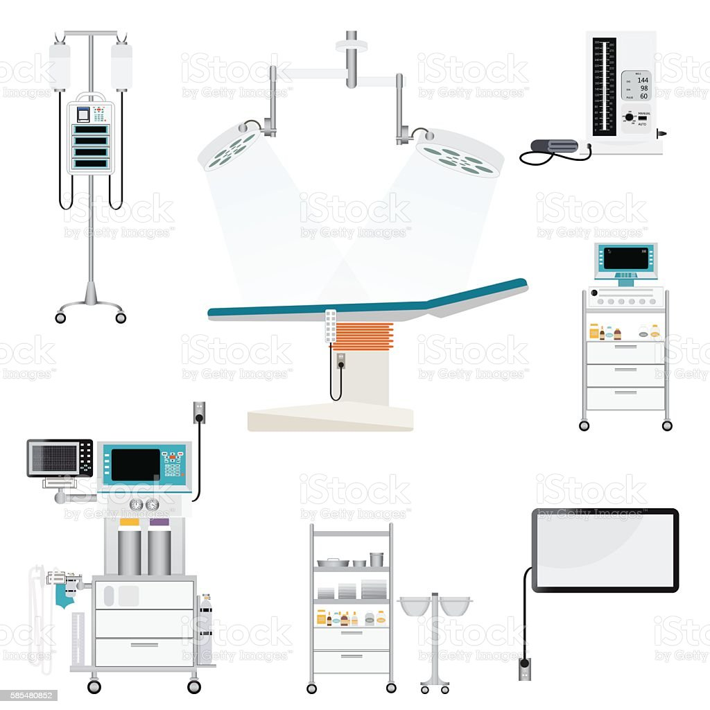 Medical hospital with medical equipment vector art illustration