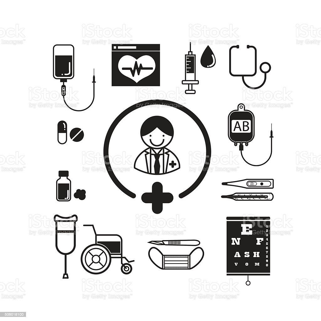 Medical icon set, Doctor vector art illustration