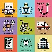 Medical Icon Set. Line Design Vector Illustrations.