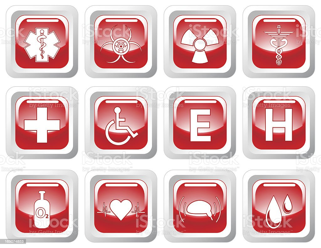 Medical Icon Set: Shiny Red Buttons royalty-free stock vector art