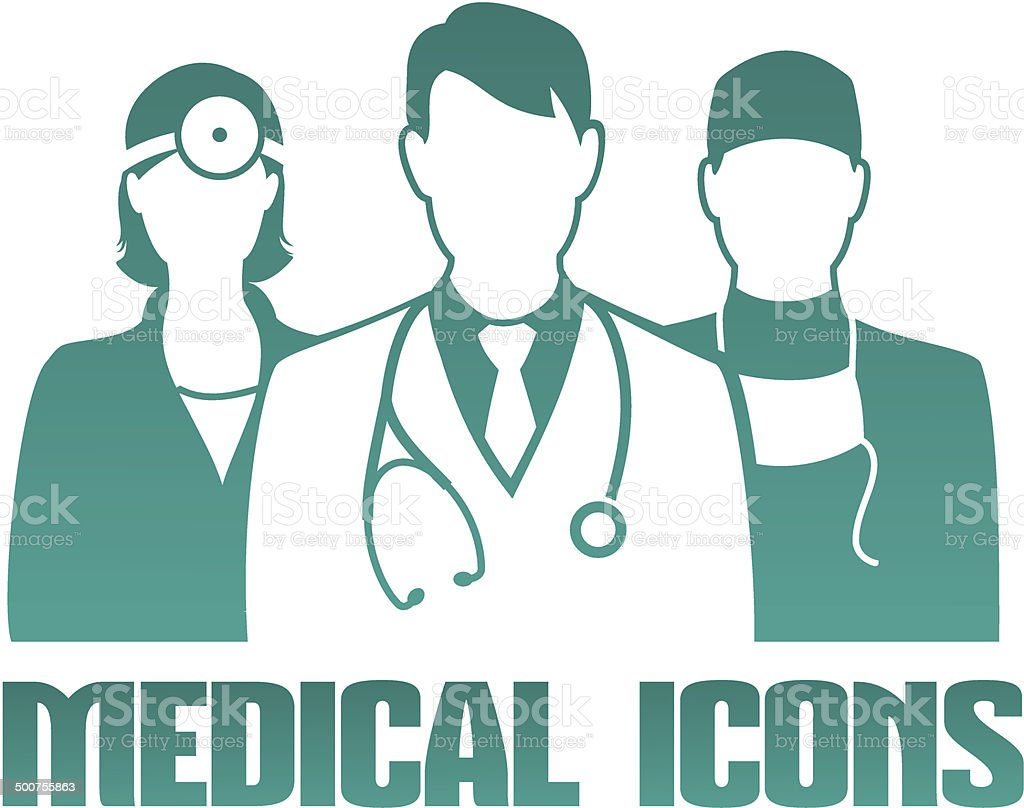 Medical icon with different doctors vector art illustration