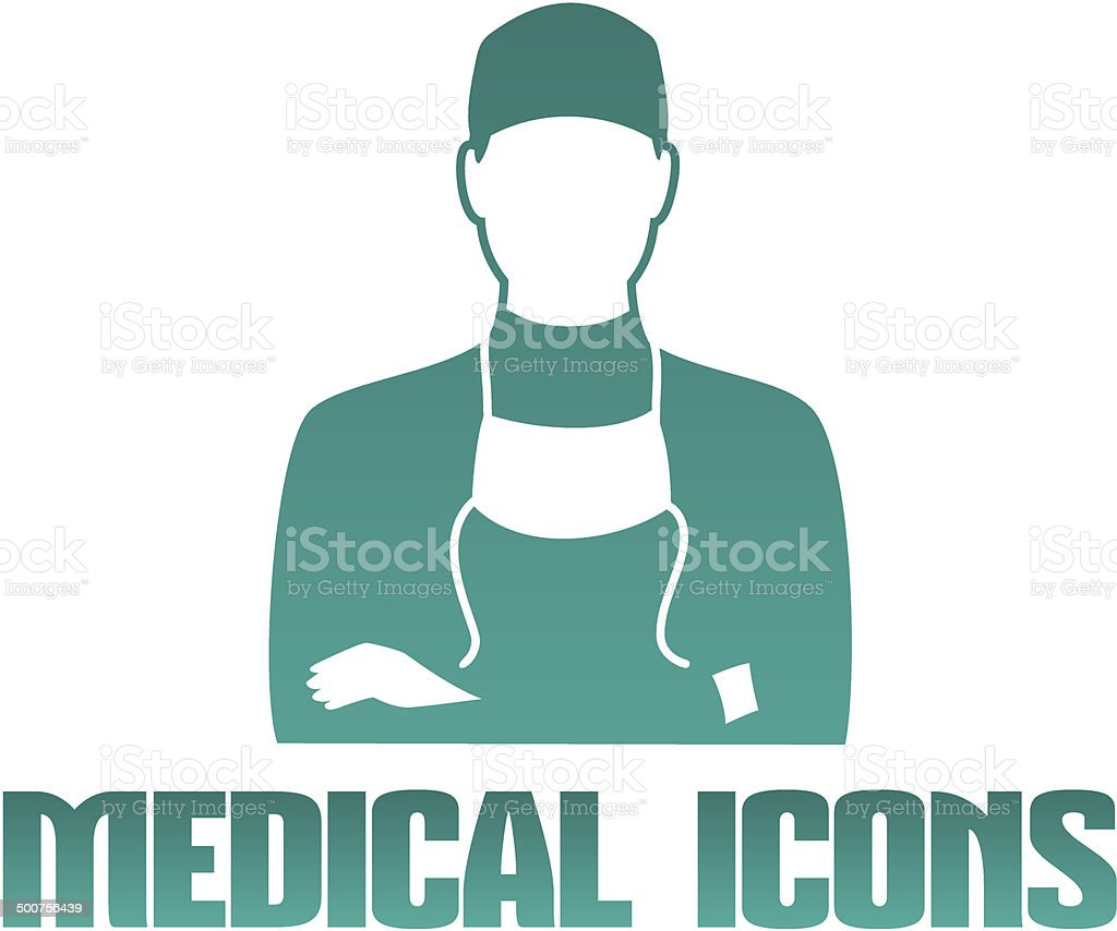 Medical icon with surgeon doctor vector art illustration