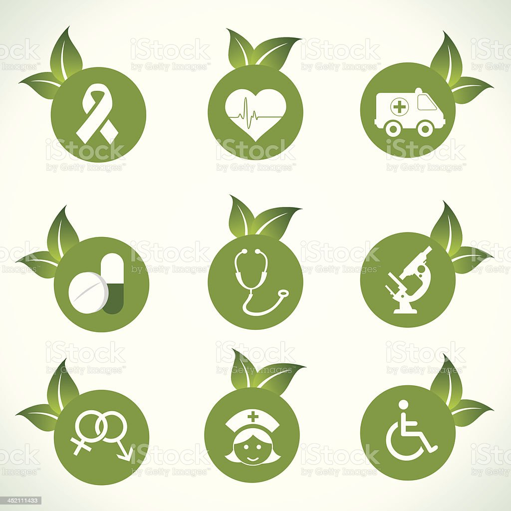 Medical icons and design with green leaf royalty-free stock vector art