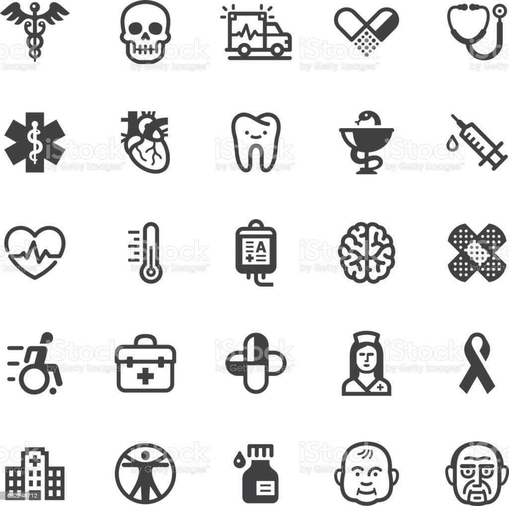 Medical icons - Black series vector art illustration