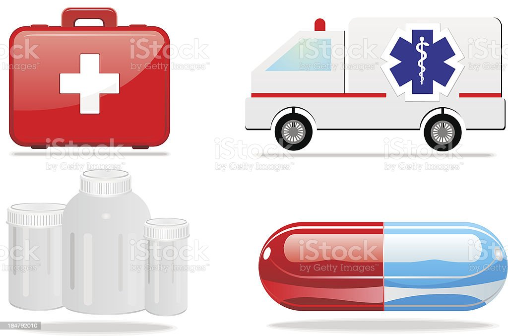 Medical icons first aid pill ambulans royalty-free stock vector art