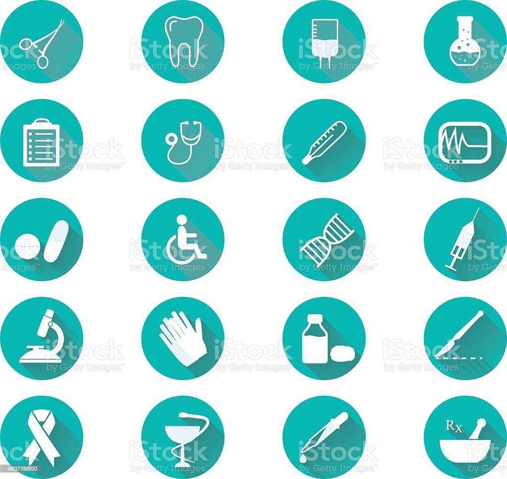 Medical icons flat design. Modern long shadow medical icon set. vector art illustration